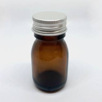 Amber glass bottle with aluminium cap: 30ml