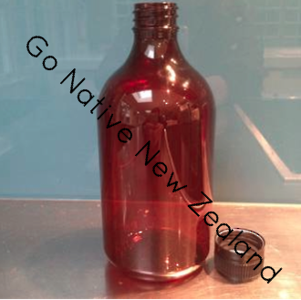 Plastic bottle: amber, 500ml, 28 neck